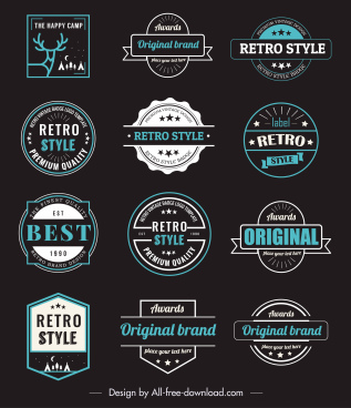 vintage badge templates colored dark flat shapes