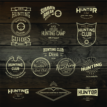 vintage badges with labels and wood background vector