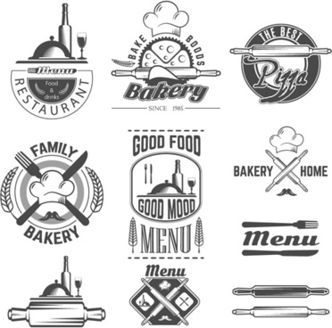 vintage bakery food labels vector