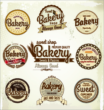 vintage bakery labels creative vector set