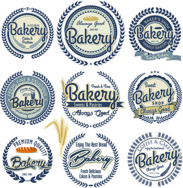 vintage bakery vector labels