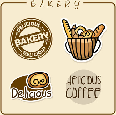 vintage bakery with coffee labels vector graphics