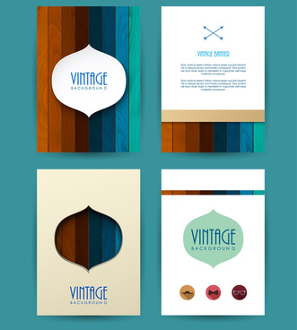 vintage banner background with colorful wooden pattern illustration