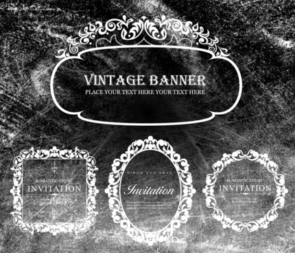 vintage banners border design on chalkboard background
