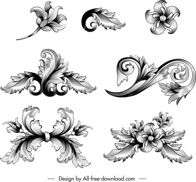 vintage baroque elements black white elegant sketch