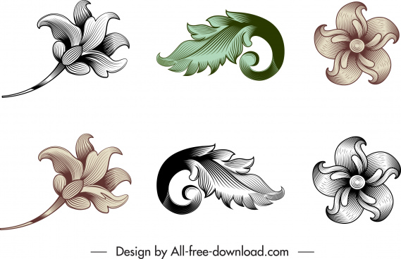 vintage baroque templates flora leaf sketch elegant design