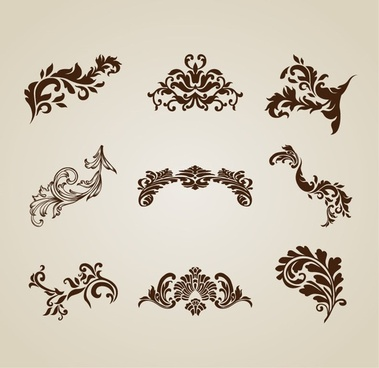 Vintage Beautiful Design Elements Vector Set