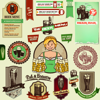 vintage beer labels and stickers vector
