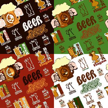 vintage beer seamless pattern vector