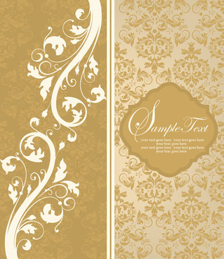 vintage beige floral background vector