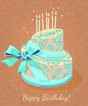 vintage birthday cake background art vector