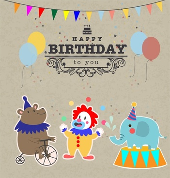 vintage birthday card vector illustration with circus animals