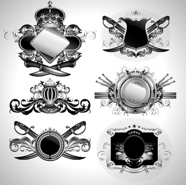 vintage black and white badge with heraldry vector set