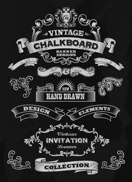 vintage black and white labels with ornaments vector