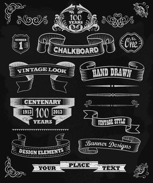 black vintage ornaments with labels and ribbon vector free vector in