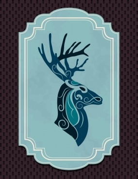 vintage blue frame decoration reindeer icon classical curves