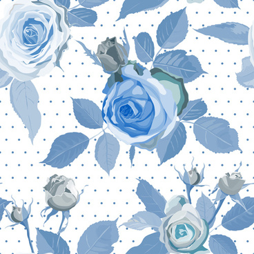 vintage blue roses pattern seamless vector