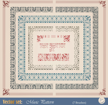 vintage border pattern with frame design vector