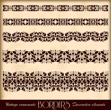 vintage borders decoration elements vector