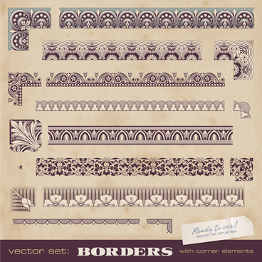 vintage borders with corner elements vectors