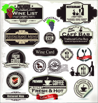 vintage cafe bar and restaurant labels