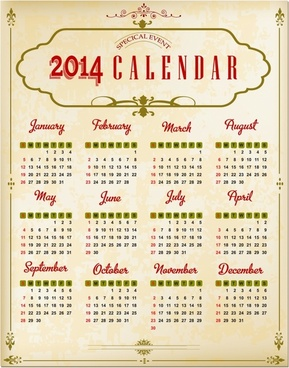 Calendar free vector download 1497 free vector for commercial use vintage calendar 2014 vector reheart Image collections