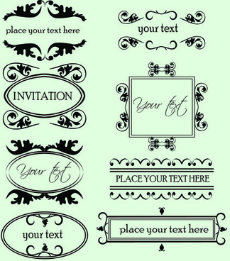 vintage calligraphic and decoration borders vector
