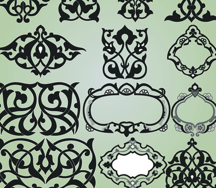 vintage calligraphic border frame and ornament vector set