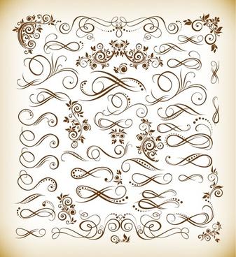 vintage calligraphic design elements vector illustration set