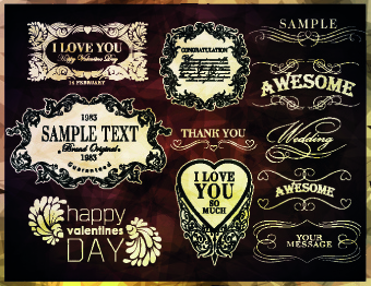 vintage calligraphic design elements vector set