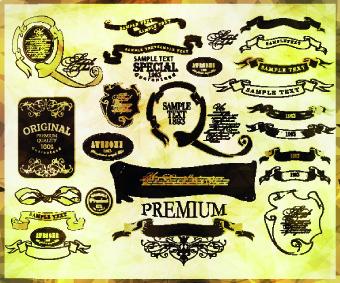 vintage calligraphic design elements vector set