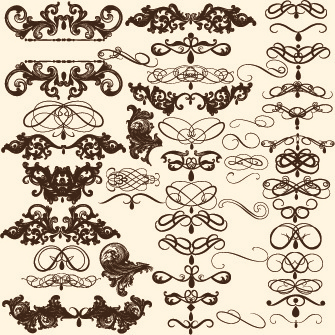 vintage calligraphic ornament elements vector