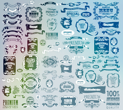 vintage calligraphic ribbon with labels vector