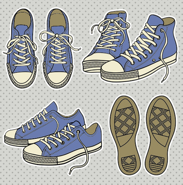 vintage canvas shoes design elements