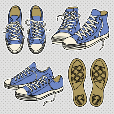 vintage canvas shoes vector
