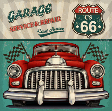 vintage car poster grunge style vector