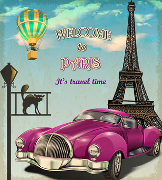 vintage car with travel poster vector set
