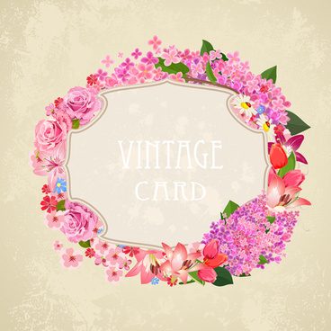 vintage card flower frame vector
