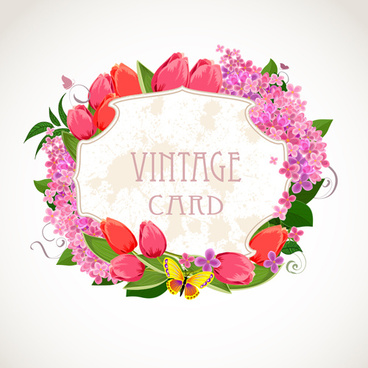 vintage card flower frame vector