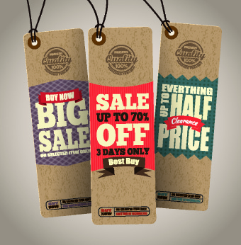 vintage cardboard sale tags vector