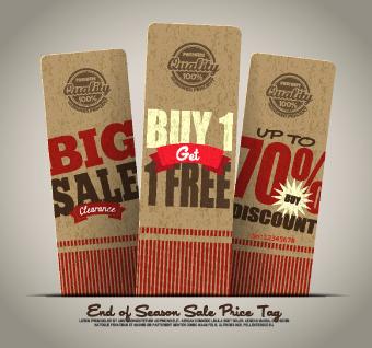 vintage cardboard sale tags vector