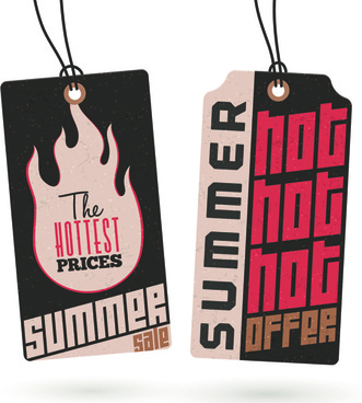 vintage cardboard summer discount sale tags vector