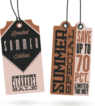 vintage cardboard summer discount tags vector
