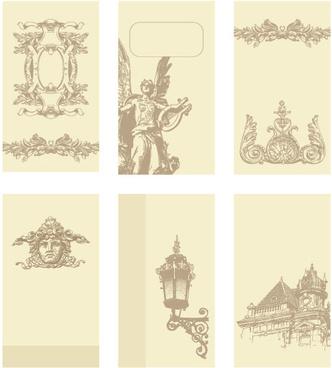 vintage cards borders vector