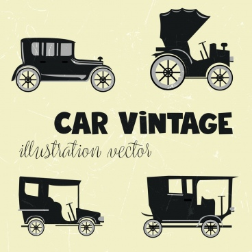 vintage cars icons collection flat black design