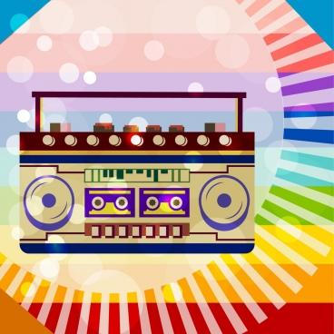 vintage cassette player icon colorful bokeh backdrop decoration