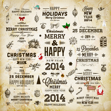 vintage christmas and14 new year with holiday elements vector