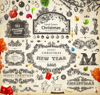 vintage christmas and new year13 ornaments vector