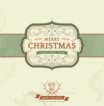 vintage christmas background and frame vector