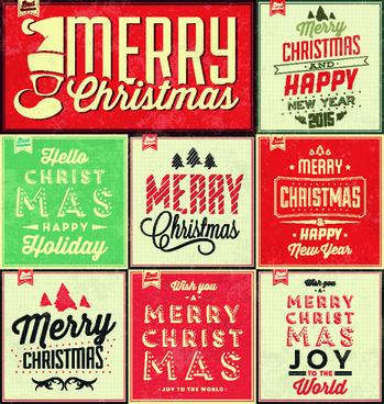 vintage christmas background set vectors